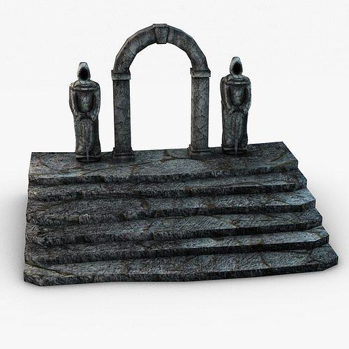 ancient entrance with stone statues 3d model max obj 3ds fbx c4d 8