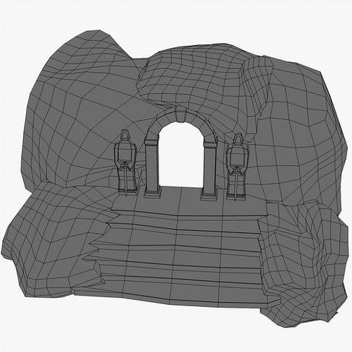 ancient entrance with stone statues 3d model max obj 3ds fbx c4d 6
