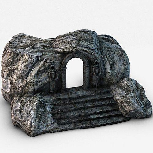 ancient entrance with stone statues 3d model max obj 3ds fbx c4d 1
