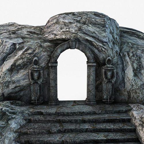ancient entrance with stone statues 3d model max obj 3ds fbx c4d 3