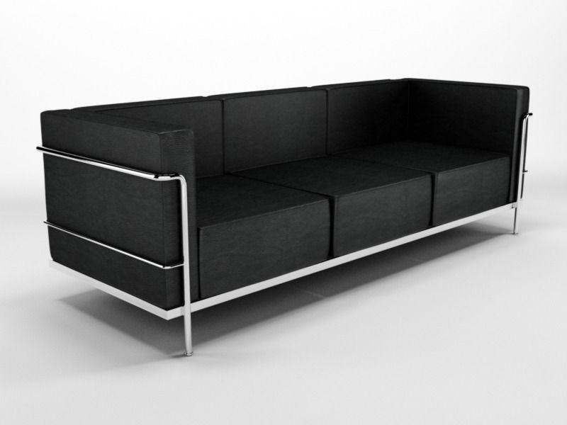 Le corbusier sofa n88 3d model c4d for Le corbusier sofa nachbau