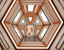 realtime sci-fi corridor 3d model