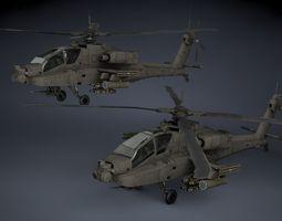 ah-64a apache 3d model max obj 3ds fbx c4d dae