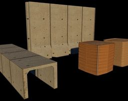 3D model Hesco and T-Wall Barrier