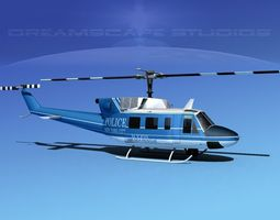 bell 212 new york police 3d model rigged max obj 3ds lwo lw lws dxf stl