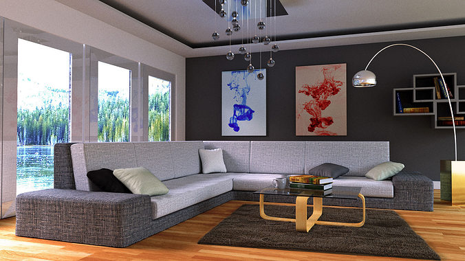 Charming Lounge Room Day And Night Scene Blender Models 3d Model Blend 1 ... Design