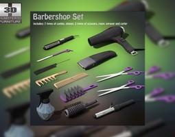 barbershop set low-poly 3d asset