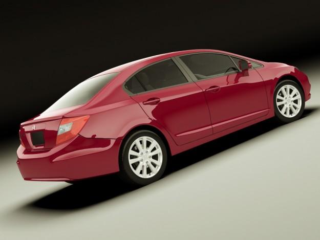Honda civic sedan 2012 3d model max obj 3ds fbx lwo lw lws for Different honda civic models