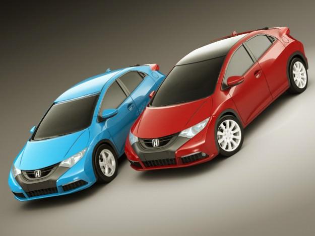 Honda civic eu 2012 5 door 3d model max obj 3ds fbx lwo lw for Different honda civic models