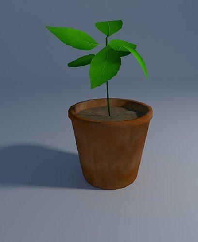 cute little plant 3d model low-poly obj mtl 3ds fbx blend dae 1