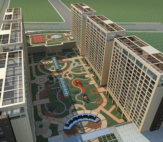 high-rise residential 3d model max 1