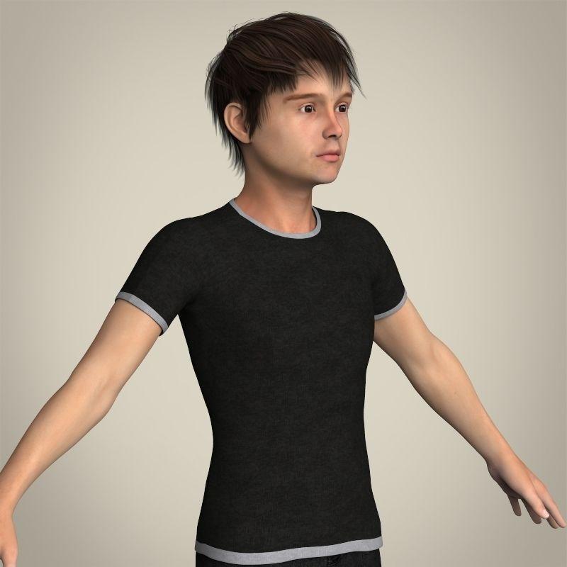 Realistic Teen Boy 3D Model MAX OBJ 3DS FBX C4D LWO LW LWS ...