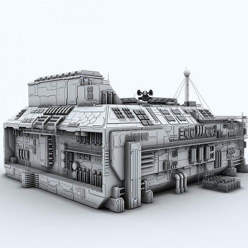 Sci fi factory 3d model max fbx c4d for Exterior 3d model