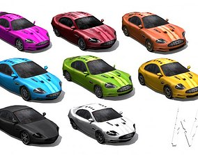 3D model low-poly Collection Low poly cars - set 1