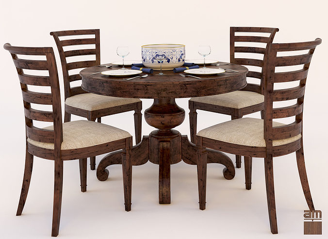 Round Table and Chair Set 3D model | CGTrader