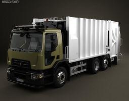 3d model renault d wide rolloffcon garbage truck 2013