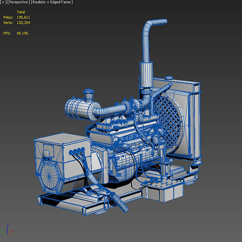 3d Model Diesel Generator Vr Ar Low Poly Max Obj 3ds