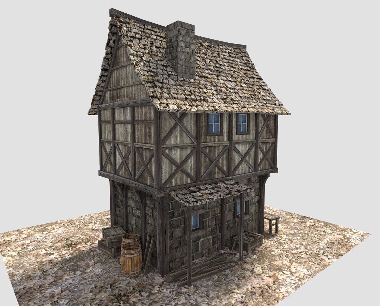 Medieval Village House 3d Model Obj 3ds Fbx Blend Dae X3d