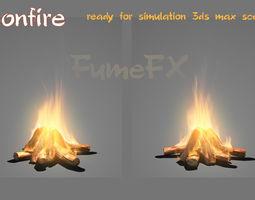 animated 3d bonfire ready for simulation fumefx scene