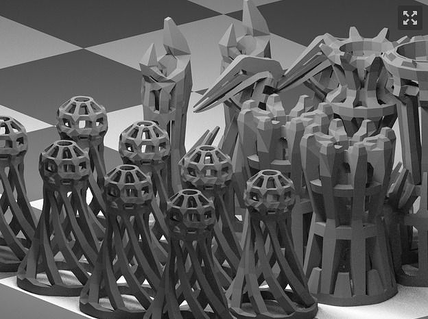 wireframe chess eet 3d model stl 1
