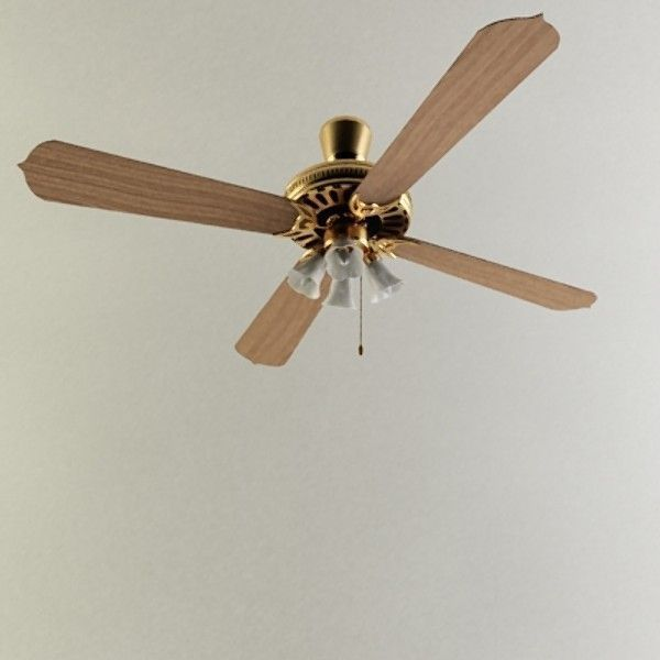 Wood Ceiling Fan 3D Model MAX OBJ 3DS