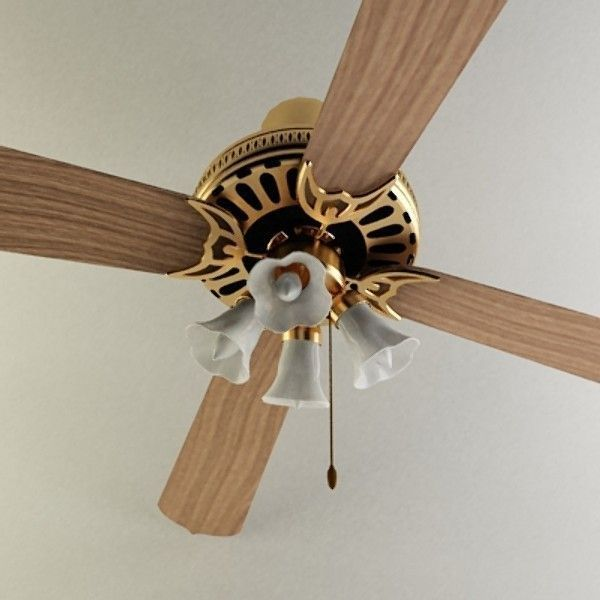 3d wood ceiling fan cgtrader wood ceiling fan 3d model max obj 3ds 3 aloadofball Image collections