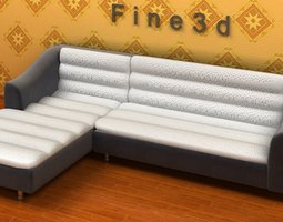 corner sofa with chaise 046 3d model