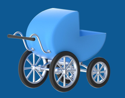stroller or perambulator or buggy 3d model