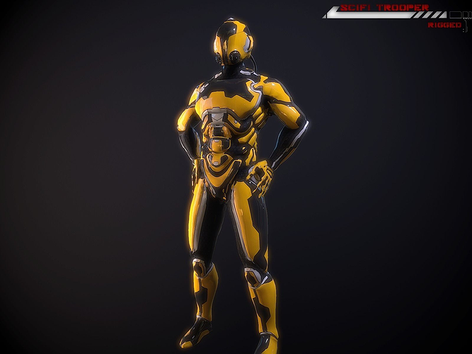 scifi-trooper lowpoly rigged 3d model low-poly rigged max obj fbx 2