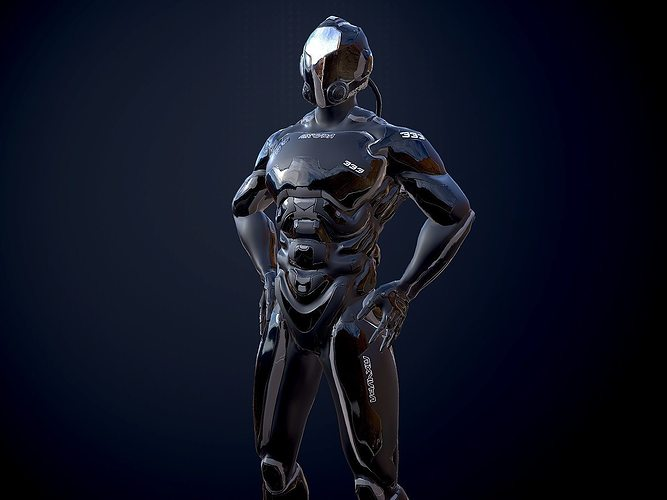 scifi-trooper lowpoly rigged 3d model low-poly rigged max obj fbx 4