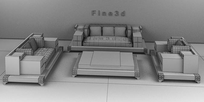 Living room set 04 007 3d model obj 3ds for Joop living room 007