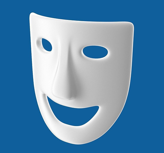 theatre play laughing mask 3d model obj blend 1