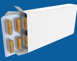 medicine or drug box with capsules 3d