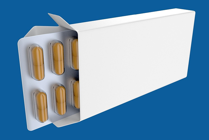 medicine or drug box with capsules 3d model obj blend 1