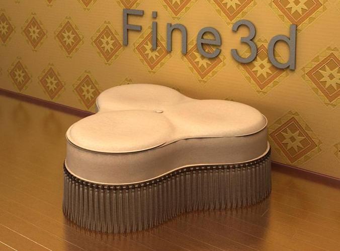 ottoman hassock stool antique-09-071-stool 3d model obj 3ds 1