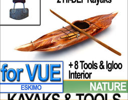 3D model Eskimo Kayaks and Igloo Tools Package