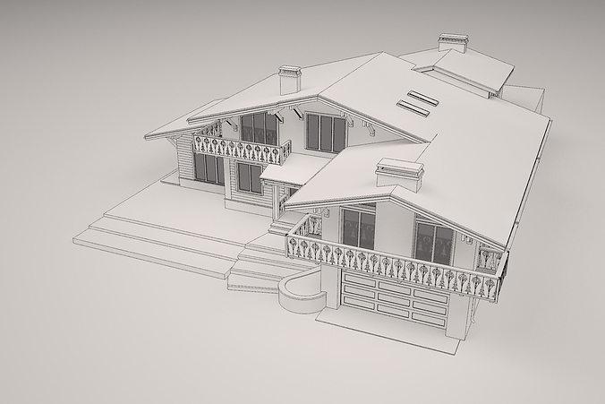 chalet house  3d model obj mtl 3ds fbx dae 1