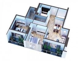 3d model detailed modern interior cutaway