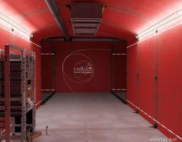 analytical scientific rack in corridor 3d model max obj fbx