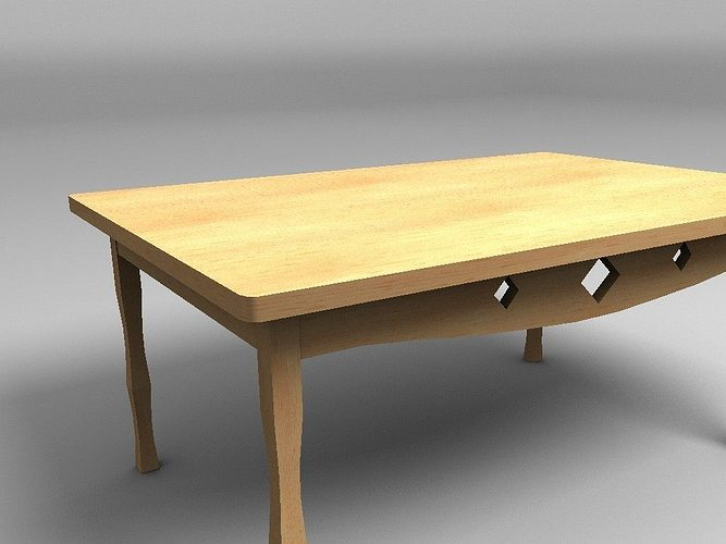 wooden table 3d model low-poly obj 3ds fbx lwo lw lws hrc xsi blend 1