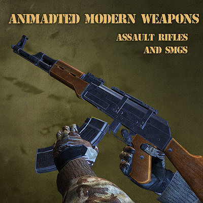 animated modern weapons and arms smgs and assaults with sfx 3d model obj mtl 1