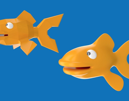 3D asset Cartoony goldfish character design