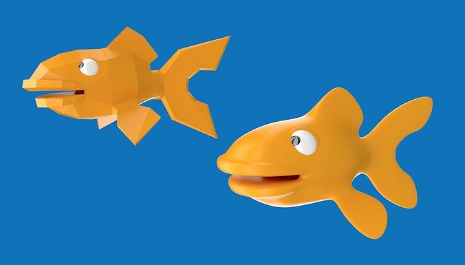 cartoony goldfish character design 3d model low-poly obj mtl blend 1