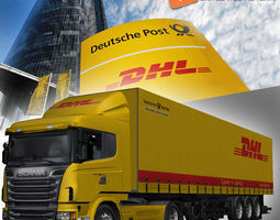 rigged scania trailer dhl 3d model low-poly