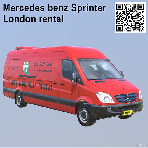 38abd544b8 Mercedes benz Sprinter London rental Extra long 3D asset