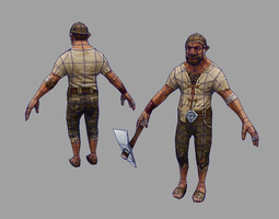 low-poly bricklayer 3d model game lowpoly