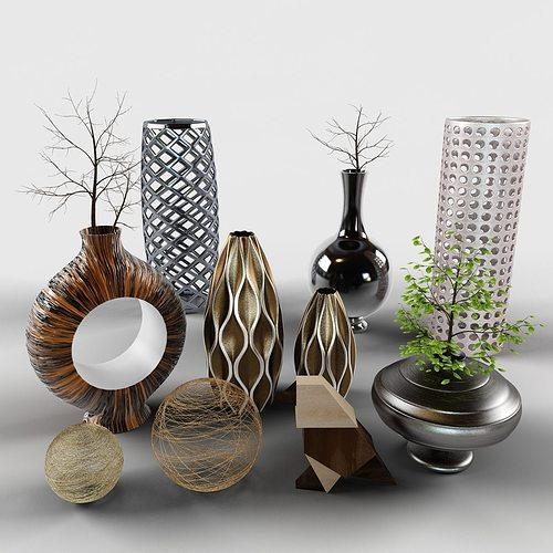 Decor Set Cody Bird Vases Branch Model Max Obj Fbx Mtl Mat 2