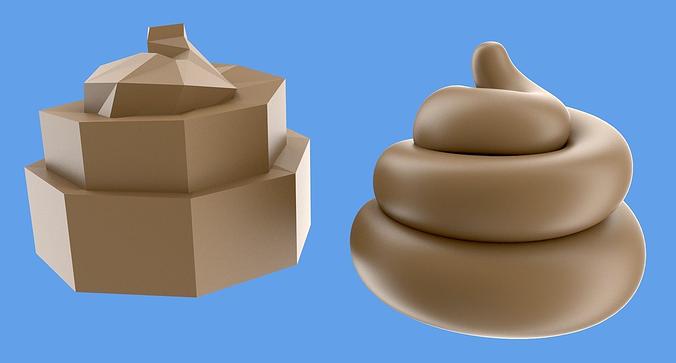turd or poop 3d model low-poly obj blend mtl 1