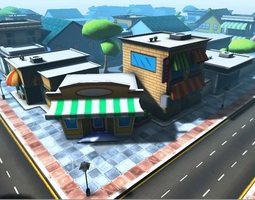 3d asset low-poly cartoon city