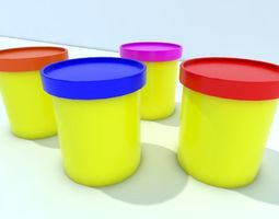 VR / AR ready 3d model plastic pots